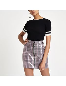 Pink Vinyl Check Mini Skirt by River Island