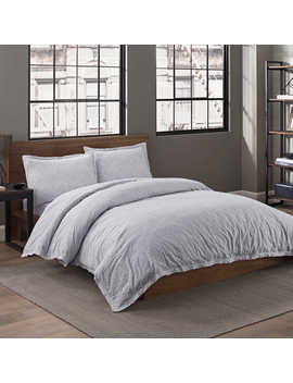 Garment Washed Popcorn Printed Full/Queen Duvet Cover Set In Fog by Bed Bath And Beyond