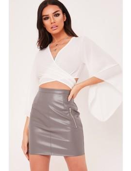 Heidi Grey Pu Zip Front Detail Skirt by Misspap
