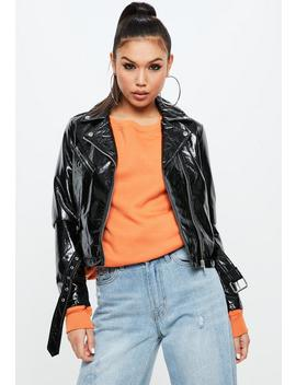 Black Faux Leather Biker Jacket by Missguided