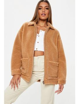 Blouson En Moumoute Marron Oversize by Missguided