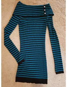 Candie's Blue And Black Striped Off Shoulder Ribbed Dress Medium by Candie's