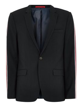 Navy Textured Skinny Suit Jacket With Side Taping by Topman