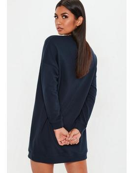 Navy Oversized Plain Sweater Dress by Missguided