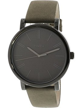 Timex Easy Reader Grey Leather Strap Mens Watch T2 N795 by Timex