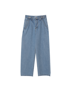 Buttoned Tab Straight Jeans by Stylenanda