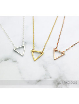 Tiny Triangle Necklace N11 • Geometric Necklace, Geo Necklace, Open Triangle, Gold Triangle Necklace, Delicate Necklace, Gift For Her by Minthologie Studio