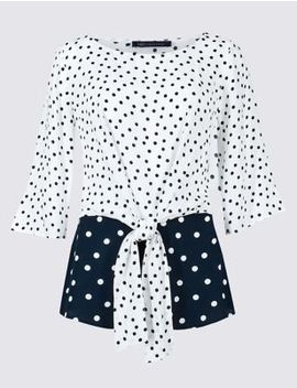 Spotted Tie Front 3/4 Sleeve Blouse by Marks & Spencer