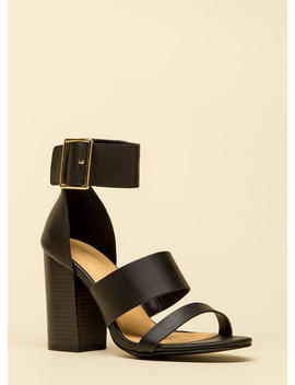 Step Right Up Chunky Strappy Heels by Go Jane