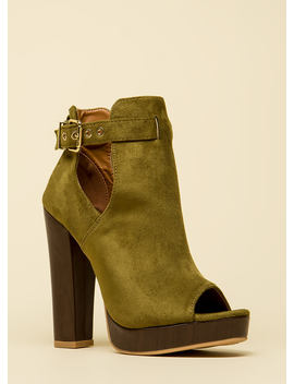 High Regard Chunky Peep Toe Booties by Go Jane