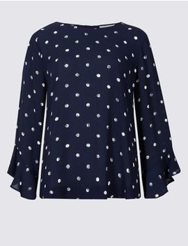 Printed Round Neck Long Sleeve Shell Top by Marks & Spencer