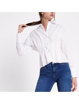 White Poplin Frill Fitted Shirt by River Island