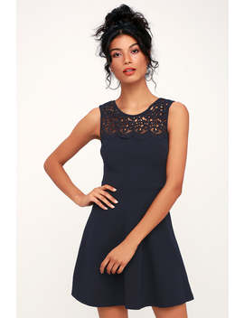 According To Love Navy Blue Lace Skater Dress by Lulu's