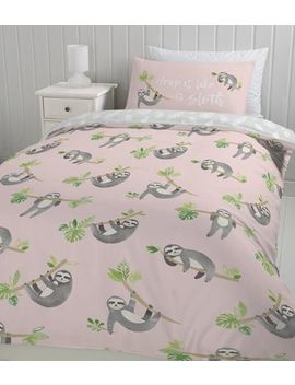 Pink Sloth Print Cotton Single Duvet Set by New Look