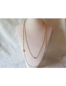 Vintage Signed Monet Gold Tone Metal Chain Station Necklace by Monet