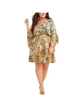 Women's Plus Size Floral Print Dramatic Bell Sleeve Wrap Dress by Romantic Gypsy
