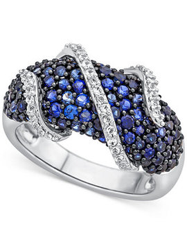 Lab Created Blue Sapphire (2 1/3 Ct. T.W.) And White Sapphire (1/4 Ct. T.W.) Ring In Sterling Silver by Macy's