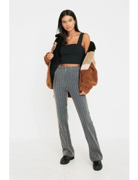 Uo Vertical Stripe Flare Trousers by Urban Outfitters