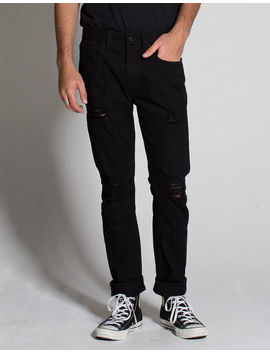 Rsq Seattle Ripped Black Mens Skinny Tapered Jeans by Rsq