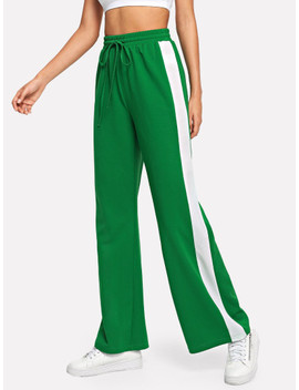 Drawstring Waist Colorblock Palazzo Pants by Shein