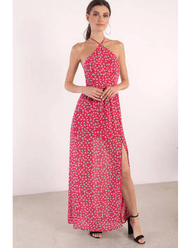 Stand Out Red Multi Floral Maxi Dress by Tobi