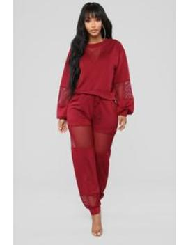 Fish Out Of Water Pant Set   Burgundy by Fashion Nova