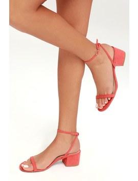 Julie Coral Rose Suede Ankle Strap Heels by Lulu's