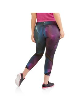 Women's Plus Size Active Performance Printed Wrap Up Capri With Mesh Inserts by Avia
