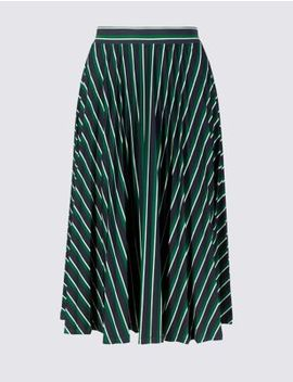 Striped Jersey Pleated Midi Skirt by Marks & Spencer