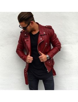 New Men Genuine Lambskin Leather Jacket Maroon Slim Fit Biker Motorcycle Jacket by Nf Leather