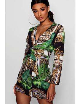 Scarf Print Wrap Shift Dress by Boohoo