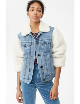 La Vie Denim & Faux Fur Jacket by Rebecca Taylor