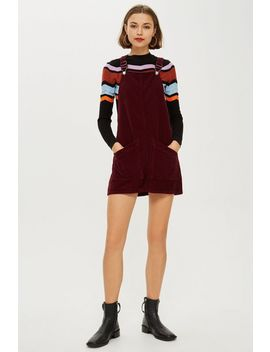 Burgundy Corduroy Pinafore Dress by Topshop