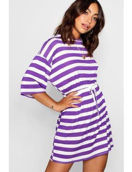 Bold Stripe Tie Waist Jersey Tee Dress by Boohoo