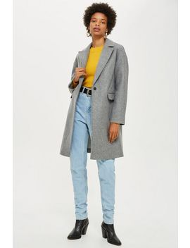 Petite Relaxed Crombie Coat by Topshop