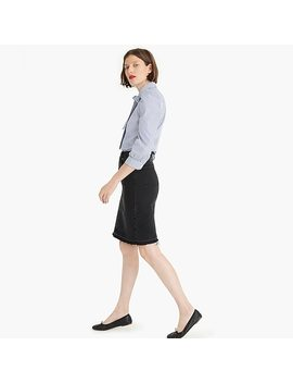 Black Denim Pencil Skirt With Let Out Hem by J.Crew