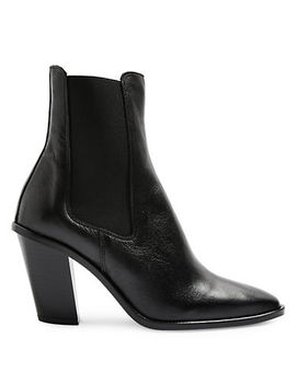 Morty Angled Heel Leather Ankle Boots by Topshop
