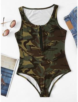 Zip Front Camo Tank Bodysuit by Shein