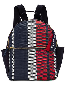 Classic Tommy Woven Dome Medium Backpack by Tommy Hilfiger