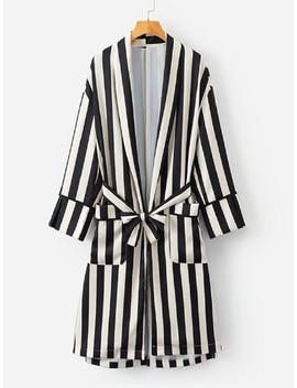 Contrast Stripe Wrap Shirt Dress by Sheinside