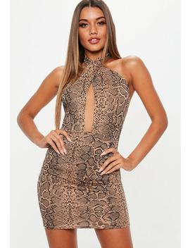 Snake Print Cross Front Halter Dress by Missguided