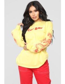 Calm Down Tee   Yellow by Fashion Nova