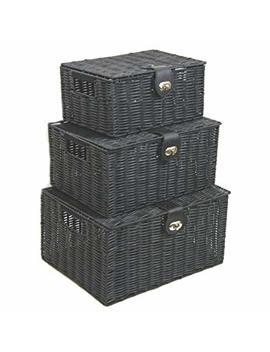 Arpan Set Of 3 Resin Woven Storage Basket Box With Lid & Lock (Black) by Arpan