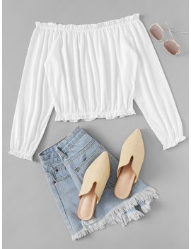 Frill Trim Off Shoulder Tee by Romwe