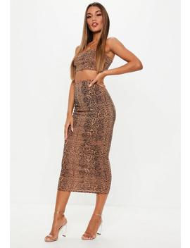 Snake Print Ribbed Skirt And Strappy Crop Top Co Ord by Missguided
