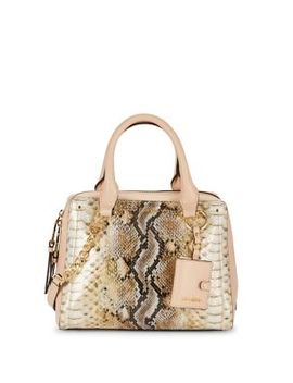 Snakeskin Print Satchel Bag by Calvin Klein