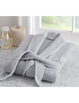 Hotel Piped Trim Robe, Large, Gray/White by Pottery Barn