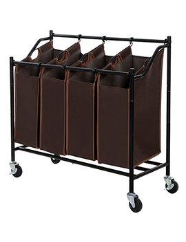 Songmics 4 Bag Rolling Laundry Sorter Cart Heavy Duty Sorting Hamper W' Brake Casters Brown Urls90 Z by Songmics