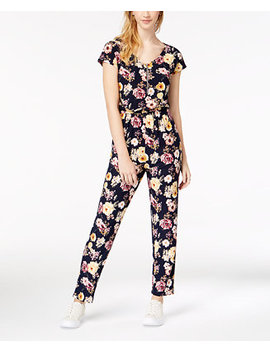 Juniors' Printed Short Sleeve Jumpsuit by Derek Heart
