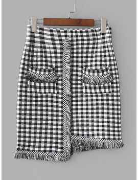 Fringe Trim Gingham Skirt by Sheinside